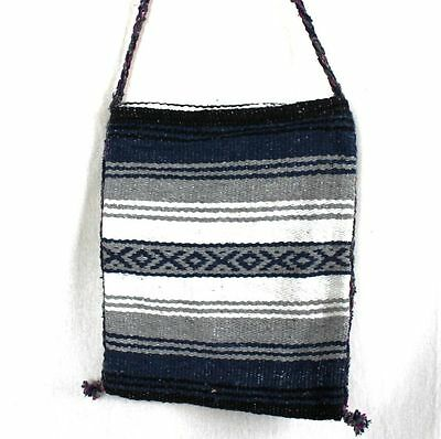 Shoulder Bag Genuine Mexican Boho Hippy Tote Purse Blue Grey Beach Bag