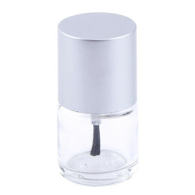 1pc 10ml Durable Empty Nail Polish Storage Glass Bottle Container Silver Cap