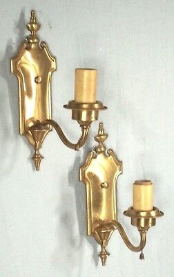 "Antique Pair Of Arch Top Urn Back Brass Electric Sconces Marked ""boston"""