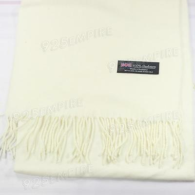 Men's 100% CASHMERE Warm PLAIN Scarf pure solid White Wool MADE IN SCOTLAND