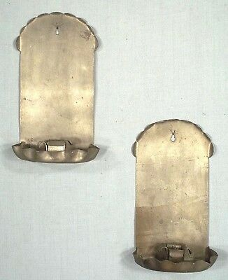 Pair Of Arts+Crafts Scalloped Top Pewter Colonial Style Candle Sconces