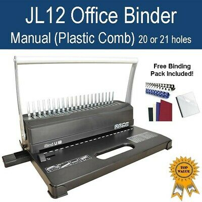 New Home Office Plastic Comb Binder / Binding Machine JL1000 (20 or 21 holes)
