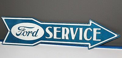 "Ford Service Embossed Arrow Metal signn Man Cave Mustang f150 Gas Pump 20"" x 5"""
