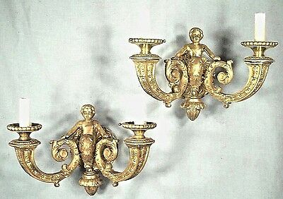 PAIR OF HEAVY BRONZE REGENCY DOUBLE ARM  CHERUB SCONCES EARLY 20th CENTURY