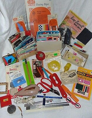 Vintage MIXED Lot Sewing NOTIONS Accessories SCISSORS Needles FASTNERS
