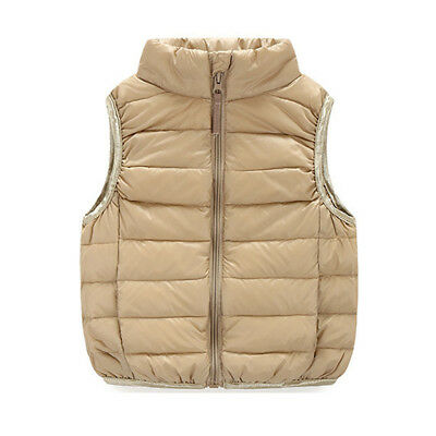 Cute Kids Light Warm Zipper Coat Vest Fashion Outwear Waistcoat 1609#