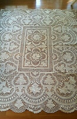 Vintage Ecru Cream Reticella Point De Venise Venice Lace TableCloth Never Used