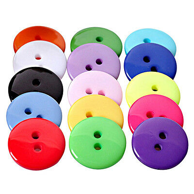 100Pcs 10/11MM Mix DIY 2 Holes Round Resin Buttons Scrapbooking Sewing Craft New