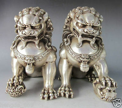 Chinese Silver Bronze Guardian Lion Foo Fu Dog Statue Pair