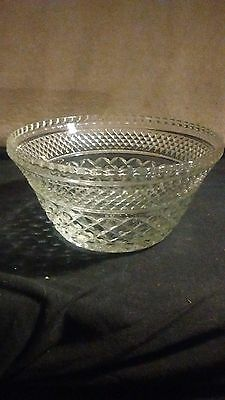 Molded Glass Bowl, large, cube design , no markings