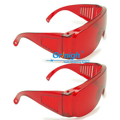 2x Red Goggles Glasses Lab Safety Dental Protective Eye Curing Light Anti Ray UV