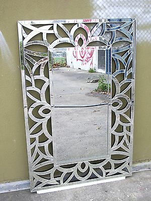 Art Deco Wall Mirror Bevelled Edge Silver Wall Mirror Large Mirror