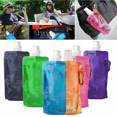 Hot Flexible Collapsible Foldable Reusable Sport Water Bottles Ice Bag Outdoor#6