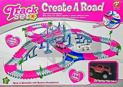Flexible Track Set with B/O Pink Car Interactive Toy Best Gift For Kids 163 Pcs