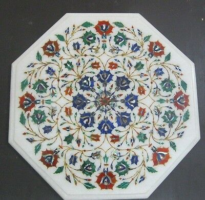 """14"""" White Pietra Dura Work Dining Table Octagon Shape  Marble Table Top"""