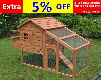 Large Chicken Coop Rabbit Hutch Ferret Guinea Pig Cage Hen Chook House-S01