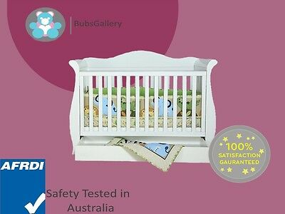 New 3 in 1 Sleigh Cot Bed Crib With Drawer White