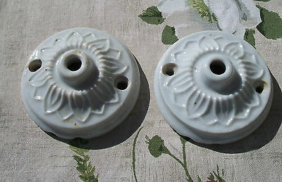 Pair of Antique 1940's French Porcelain Ceiling Rose Light Fitting China
