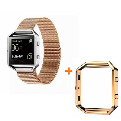 UK NEW Magnetic Loop Stainless Steel Band Strap+Frame For Fitbit Blaze Rose Gold