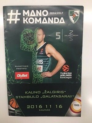 Zalgiris - Galatasaray euroleague game programme original from ARENA Kaunas