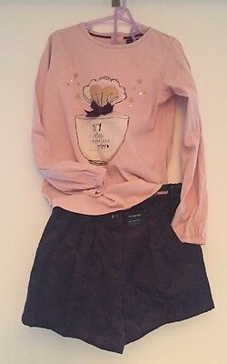 M&S Marks & Spencer Girls Purple Christmas Party Shorts & Top Outfit New Age 6-7