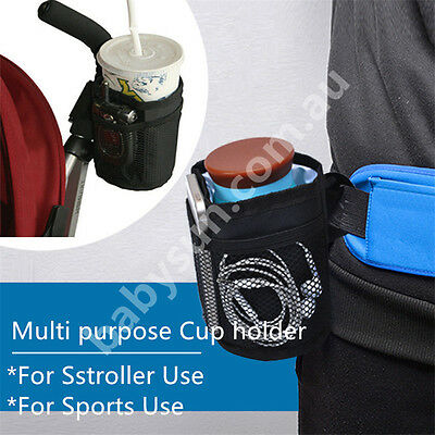 Baby Kids Stroller Handle Hanging Storage Cup Holder Bag Cooler Solid Bag K04
