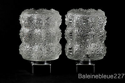 Pair Vintage Mid Century 60´s Glass & Chrome Wall Lamps Ice Sconces Design