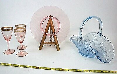 Pink Rose & Blue Depression Glass Lot Champagne/Dessert Wine Plate Mixed Lot
