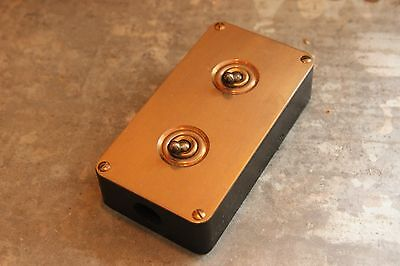 """Vintage Industrial Light Switch """"Britmac"""" 2 Two Gang Retro Steam Punk Rare - NEW"""