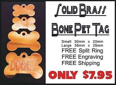 Solid Brass Bone Pet Tag With Personalised Engraving for Dog Cat Pets