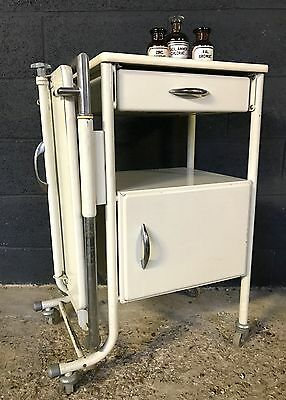 Vintage Industrial German Medical Double Sided Side Table Trolley