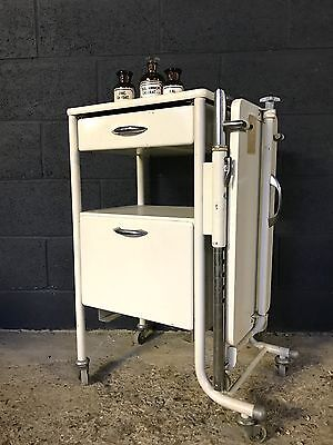 Vintage Industrial Double Sided German Medical Trolley Side Table