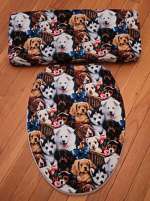 Dogs Doggy Puppy Canine Dog Lovers Bathroom Toilet Seat & Tank Lid Cover Set