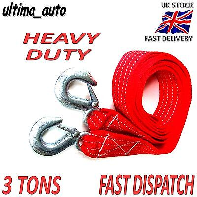 3.5M Car Tow Rope Pull Towing Strap Hooks Heavy Duty 3 Tons Van Road Recovery UK