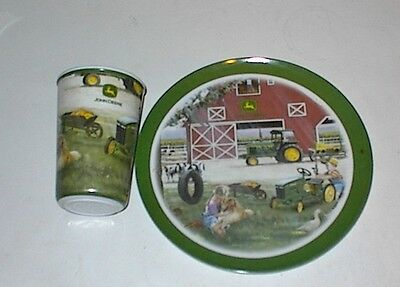 "Childs John Deere Plate and Glass  ~  Everday Gibson 8"" Plate"