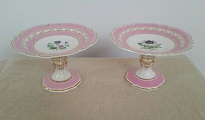 Pair Pink Rimmed Hand Painted Old Paris French Porcelain Compotes