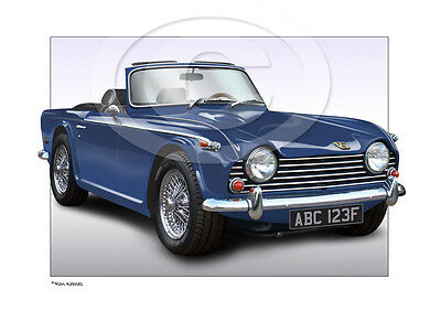 Triumph Tr4 Tr5 Print - Personalised Illustration Of Your Car