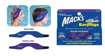 Macks Ear Band Swimming Headband & AquaBlock Earplugs - Purple (2 pairs)