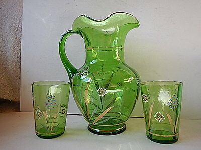 Victorian green lemonade pitcher & 2 tumblers; hand painted; blown in mold