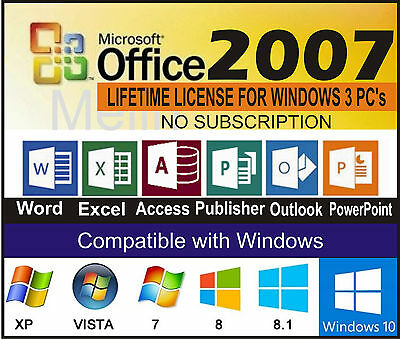 Microsoft Office 2007  LIFETIME LICENSE FOR WINDOWS 3 PC's - NO SUBSCRIPTION
