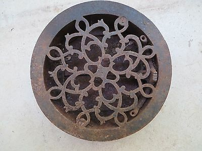 vintage old  round cast iron floor wall register grate