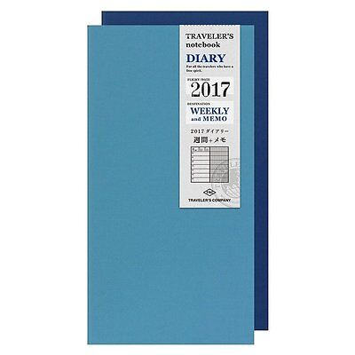 Midori TRAVELERS Notebook DIARY Refill 2017 Weekly and MEMO A5 MADE IN JAPAN