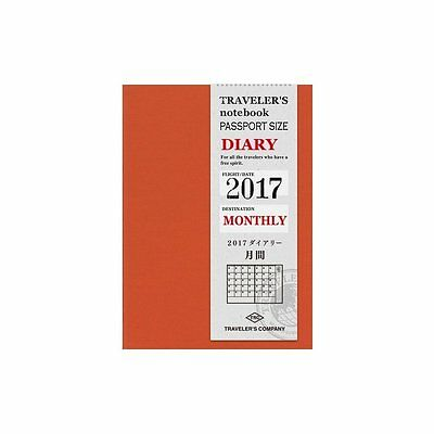 Midori TRAVELERS Notebook PASSPORT SIZE DIARY Refill 2017 MONTHLY MADE IN JAPAN