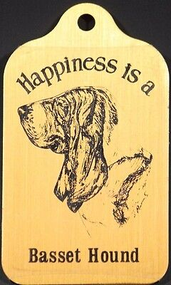 Happiness is a Bassett Hound Rectangular Metal Key Chain  with Ring