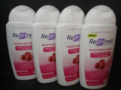 3 Rephresh Soothing Intimate Wash Probiotic Cranberry Complex 8.5 Oz Each Jl 202
