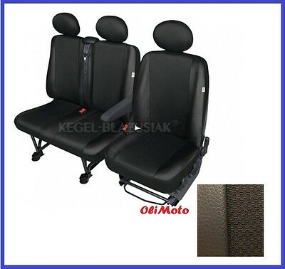 Tailored Seat Covers Black Eco-Leather+Cloth Fabric 2+1 Renault Master to 2010