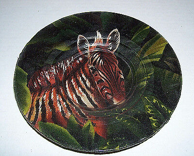 "Zebra Plate 6"" Decorative Collectible - Cloth Under Glass"