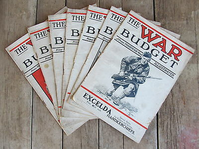 THE WAR BUDGET 1915 lot of 7 WWI London England Magazines Newspaper ads photos 1
