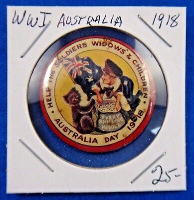 Orig Vtg WW1 Australia Day 1918 Help Soldiers Widows' and Children Pin Button