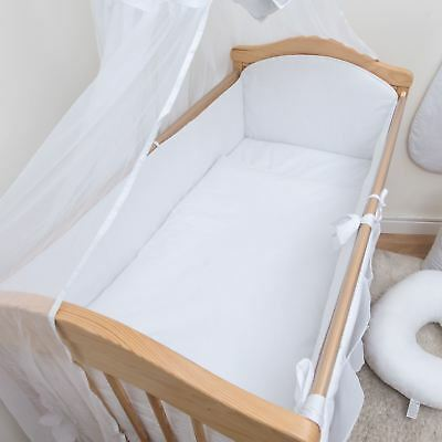 3 Piece Baby Cot Bedding Set with 4-sided Bumper to fit 140x70 cm - Plain White